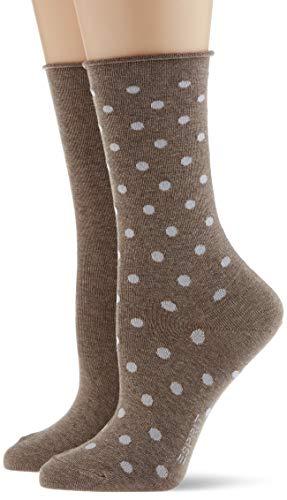 ESPRIT Damen Dot 2-Pack Socken, braun (nutmeg mel. 5410), 35-38 (UK 2.5-5 Ι US 5-7.5) (2er Pack)
