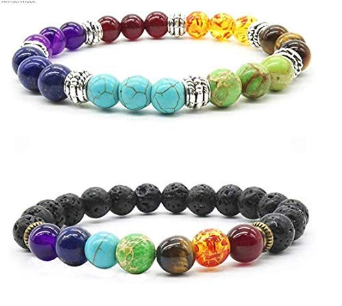 Naturstein armband anlising chakra armband etherische olie diffuser armbanden natuurlijke Reiki Chakra edelsteen armbanden set yoga armband chakra parelarmband voor dames en heren