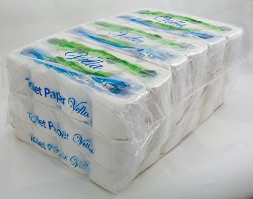 Vella 72 Rollen Kleinrollen Toilettenpapier 3-lagig weiss aus Zellstoff Frischfasern 250 Blatt je Rolle im 9 x 8 Super Sparpack