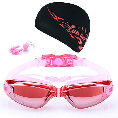 Gafas de natación Gafas de buceo gorras de gafas para el oído Places de la nariz Set Surfing Gafas de natación Anti-niebla Protección UV Gafas de baño al aire libre Gafas De NatacióN ( Color : Pink )