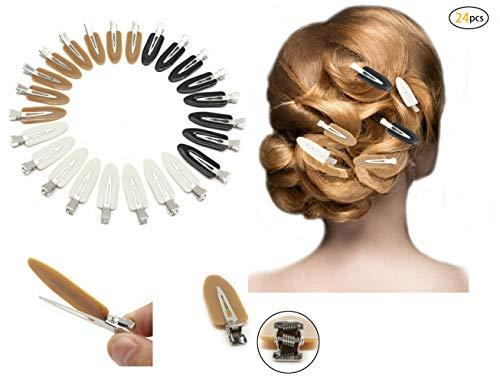 Dofash 24Pcs No Bend Haarspangen ideal für Pony, spurlose Pin Curl, Fingerwellen, feines Haar und dickes Haar und Make-up-Anwendung 6Cm Haarspangen mit Geschenkbox (Schwarz + Weiß + Braun)