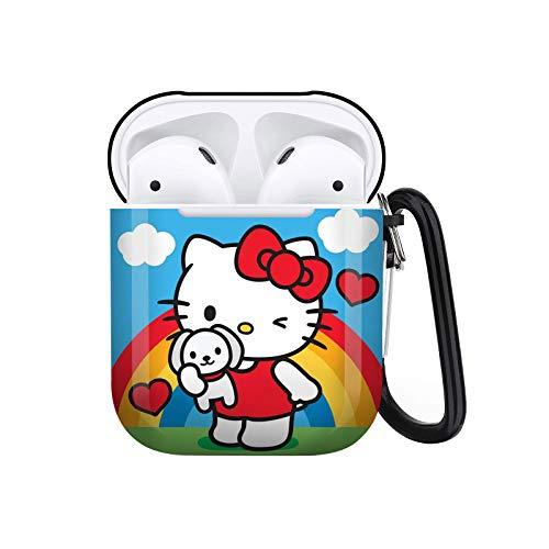 Hello_Kitty Airpods-Hülle, niedliches Design für Airpods 1 und 2 Airpods-Hülle mit Schlüsselanhänger für Männer & Frauen, vollständiger Schutz, langlebig, stoßfest, kabellose Kopfhörer-Hülle