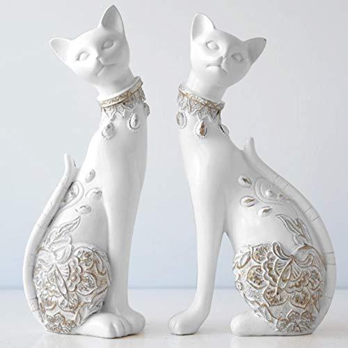 EZQYC Sculptures Décoratives Figurine Chat Statue De Résine Décorative pour La Maison...