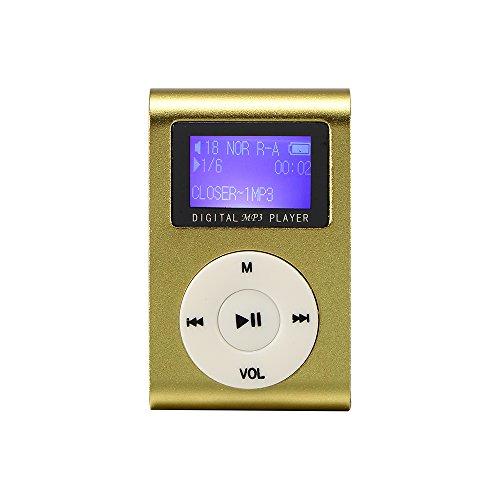 ONEVER Il Disegno della Clip Lettori MP3 Mini Supporto Player Digital Screen a Cristalli liquidi 16GB Micro Carta (Gold)