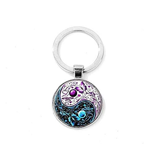 YSCSTORE HumoliStore Black And White Yin And Yang Keychain, Best Friend Dog Paw Handprint Glass Cabochon Purse Bag Pendant, Key Ring and cheap (Color : Style 5)