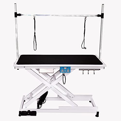 petgroomingtable Heavy Duty Super-Low Electric Lift Dog Grooming Table with Overhead Arm, Clamps, Two Grooming Noose
