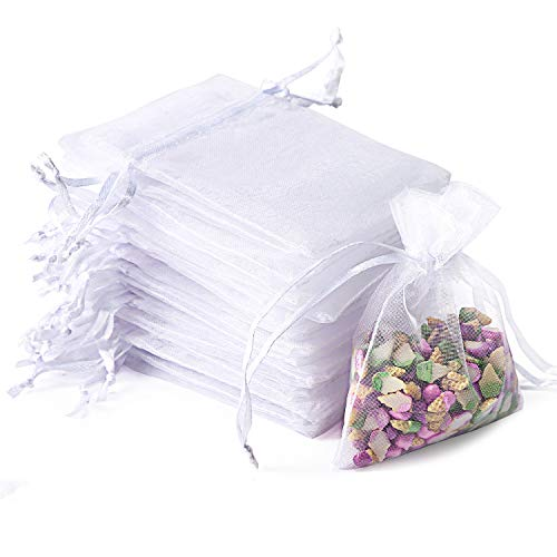 "Bouraw 100Pcs Organza Bags, Drawstring Pouches, Wedding Favour Bags Party Christmas Gift Bags, White Jewellery Pouches (10x15cm, 4 * 6"")"