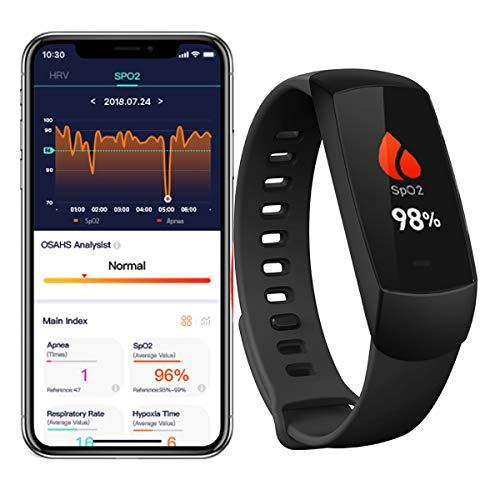 Lunasea SpO2 Pulso Oxímetro Monitor de sueño inalámbrico con alarma de vibración HRV Monitor de ritmo cardíaco inteligente Fitness Tracker con aplicación
