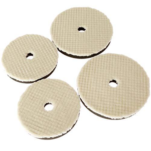 GFHDGTH 4 stks 6/7 Inch Wol Polijstpad, Voor Auto Polijstmachine Waxen Buffing Slijpen Polijstschijf voor Zorg Reiniging 150 / 180mm, 6 inch
