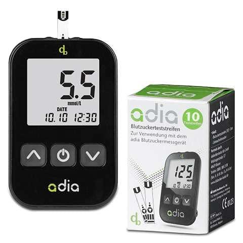 Adia Blutzuckermessgerät (mmol/l) mit 10 Teststreifen - für Diabetiker zur Kontrolle des Blutzuckers bei Diabetes