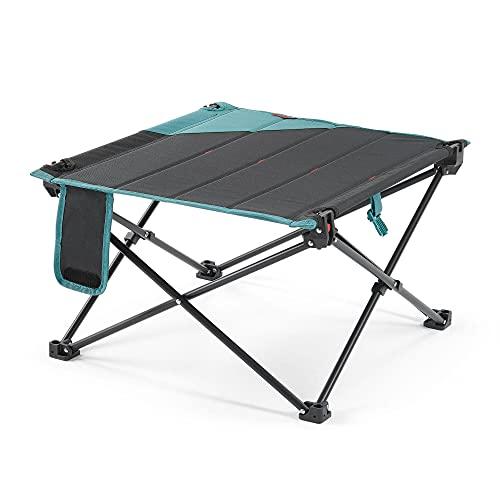 Quechua Campingtisch Camping Klapptisch Ultraleicht – 58,5 x 58,5 x37 cm Tisch Balkon klappbar - Beistelltisch Balkontisch klein Platte aus MDF+ Polyester 50 KG Tragkraft blau