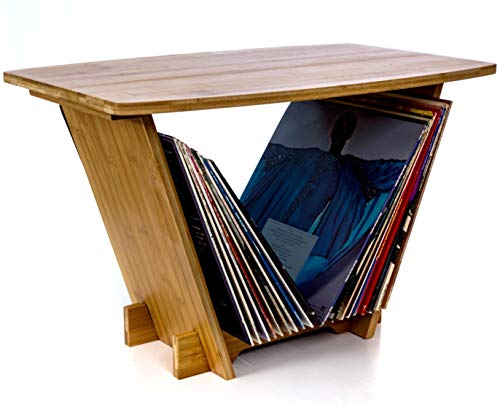 Vinyl Records Holder Turntable Stand - Record Player Display and Lp Album Storage Rack Organizer. Space Saving Solution for your Collection. Contemporary Table Station will blend nicely with any Decor