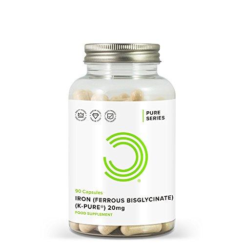 BULK POWDERS Iron Ferrous Bisglycinate Capsules, 20 mg, Pack of 90