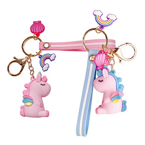 STOBOK llaveros de unicornio lindo llavero de pvc arco iris de dibujos animados llavero juguete unicornio llavero colgante de llave encanto niños mujeres
