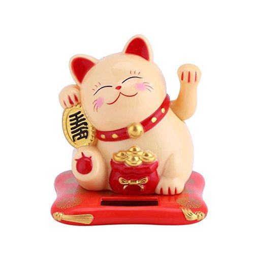 Gato Que agita, Maneki Neko, Gato de la Fortuna, Gato Lindo Que agita con energía Solar Buena Suerte Riqueza Gatos acogedores Exhibición del hogar Decoración(Amarillo)