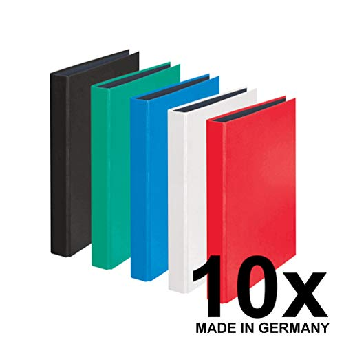 Original Falken 10er Pack YourColor Ringbuch. Made in Germany. 2-D-Ring-Mechanik DIN A4 Füllhöhe 25 mm farbig sortiert Kalender Organizer Ring-Ordner Hefter ideal für Büro und Schule