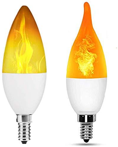 Dmygo Bombilla LED E12 Llama Efecto de luz Fuego iluminación de la lámpara Decorativa de la atmósfera de iluminación for la decoración casera (2pack)