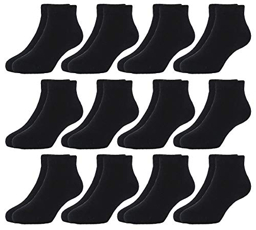 HzCojulo Kids Toddler Half Cushion Low Cut Athletic Ankle Cotton Socks for Boys Girls Size Age 1-15 Years -12 Pairs,Black,M/Shoe size 10.5-13/5-7Years