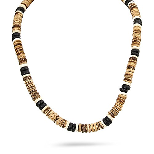 JewelryVolt Fashion Necklace Coconut Bread Beads Surfer Beach Surf Hand Crafted 18.5'