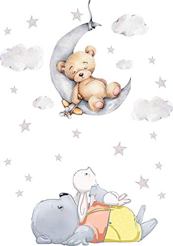 Szeridan D308 40 x 60 cm osito de peluche en la luna, conejo, nubes, estrellas, animales, cielo, adhesivo decorativo para la habitación de los niños, para la habitación de los niños (XXS – 40 x 60 cm)