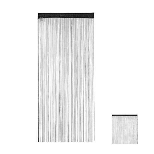 Relaxdays Fadenvorhang schwarz, kürzbar, Tunneldurchzug, für Türen & Fenster, waschbar, Fadengardine, 90x245 cm, Black, 90x245cm