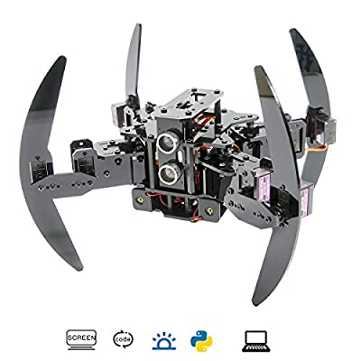 Adeept Quadruped Robot Kit Compatible for Arduino with Infrared Remote Control and Python APP, Spider Walking Crawling Robot, Self-stabilizing Based on MPU6050 Gyro Sensor, STEAM Robotics Kit with PDF