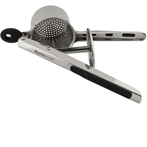 Potato Ricer and Masher, Baby Food Maker by Küche Chef. Premium Quality 304 Stainless Steel. Mill Silky Smooth Mash Every Time By Pressing Soft Grip Handles