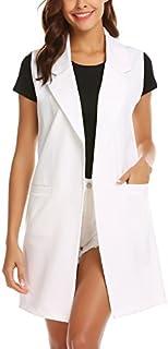 Showyoo Women's Long Sleeveless Duster Trench Vest Casual Lapel Blazer Jacket