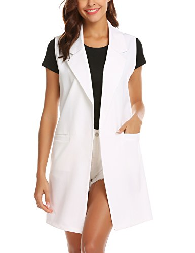 Showyoo Women's Long Sleeveless Duster Trench Vest Casual Lapel Blazer Jacket Pure White S