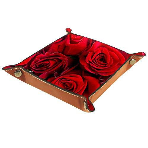 Bandeja de Cuero - Organizador - Rosa roja romántica - Práctica Caja de Almacenamiento para Carteras,Relojes,llaves,Monedas,Teléfonos Celulares y Equipos de Oficina