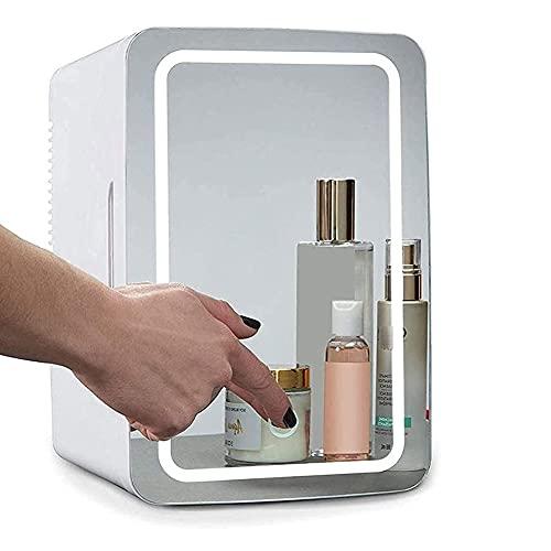 DCLINA 8L Mini Refrigerador Portátil/Pequeña Nevera con Espejo De Maquillaje LED Táctil,Mini Nevera para Maquillaje Y Cuidado La Piel, Sala, Automóvil Bar Refrigerador Silencioso