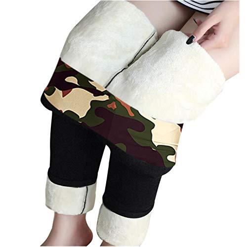 Leggings con forro polar de sherpa de invierno para mujeres, medias gruesas de terciopelo térmico, Negro, XXXXL