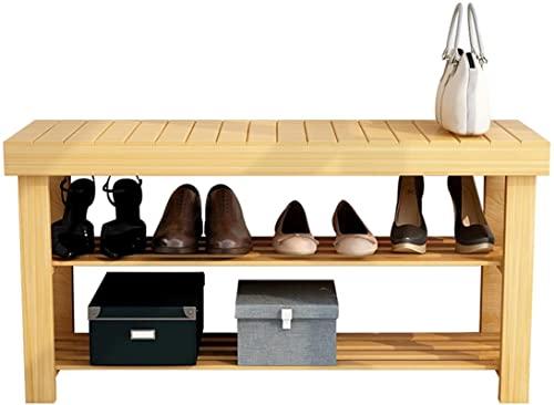 Banco de almacenamiento de zapatos con asiento, de madera, 2 niveles, pequeños zapateros, organizador de gabinetes, taburete, pasillo, entrada, 50 cm, 60 cm, 70 cm, 80 cm, 90 cm de ancho, hasta 8 pare