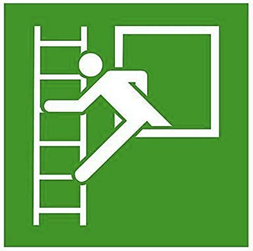 Fluchtfenster Rettungsleiter Rettungsfenster Notausstieg Schild nachleuchtend von MBS-FIRE®