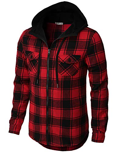 H2H Mens Casual Hoodie Zip up Jackets Check Patterned Long Sleeve with Front Pockets RED US S/Asia M (CMOJA117)