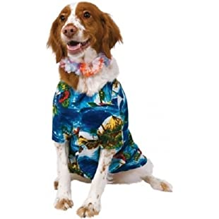 Pet Dog Cat Hawaiian Shirt & Lei Hula Luau Fancy Dress Costume Outfit Clothes Clothing S-XL (Medium):Deepld