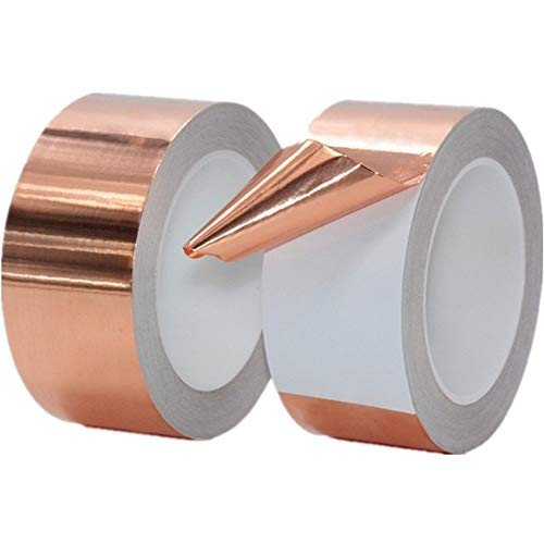 Cinta adhesiva de cobre de una sola cara autoadhesiva de cobre puro cinta de blindaje de señal de 0,06 mm x 25 m de largo (80 mm x 25 m)