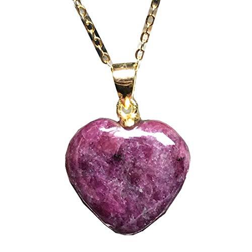 DUOVEKT Collar con colgante de Zoisita de rubí natural, forma de corazón, joyería de piedra de Zoisita de rubí para mujer y hombre, cuentas de cristal de 17 x 5 mm, cadenas de plata AAAAA