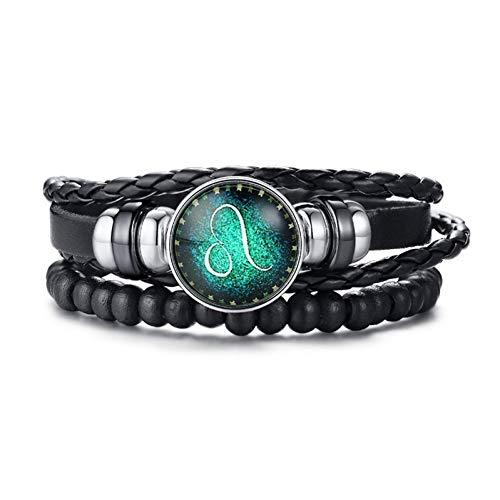 Heren armband Retro De 12 Horoscoop Mannen Womens Multi-Layer Zwart Lederen Touw Wikkel Bangle Lengte Verstelbaar