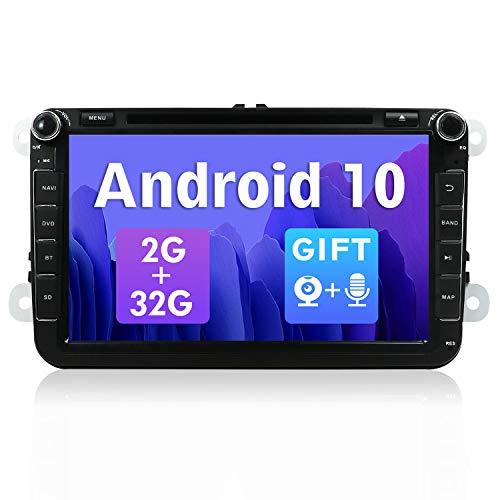 SXAUTO Android 10 Autoradio Compatibile con VW Skoda / POLO / PASSAT / B6 / CC / GOLF / Fabia - [2G/32G] - GRATUITI Camera Canbus - 2 Din 8 Pollici - Supporto DAB WLAN Bluetooth5.0 Carplay 4G Volante