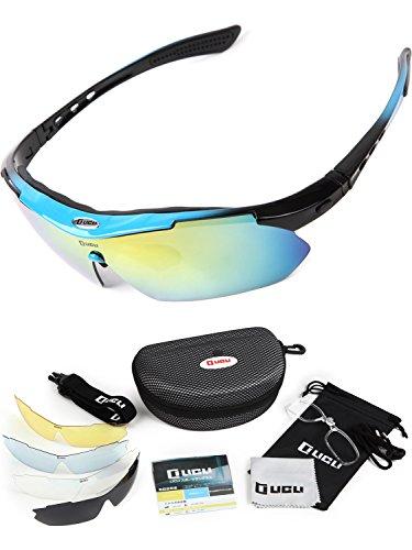 LICLI スポーツサングラス 「 偏光 レンズ uv 紫外線 99% カット 」「 メンズ レディース 男女兼用 フリーサイズ 」「 度付き 対応 インナーフレーム 交換レンズ 5枚 専用ケース 付属 」「 超軽量 豊富な7カラー 」 (ネオンブルー)