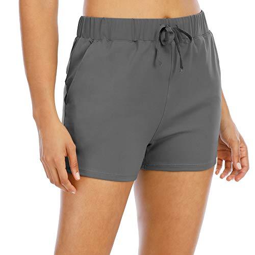 scicent Pantalones cortos de gimnasio para mujer de cintura alta con bolsillos S-XL