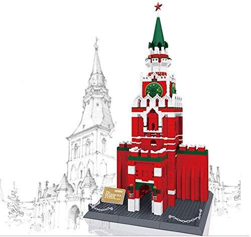 JILIGALA Mini Juguetes de Bloque de construcción, 3D Kremlin Clock Tower Modelo Bloques de construcción, Juguetes educativos para Adultos Adolescentes Regalos Infantiles (1048 PCS)