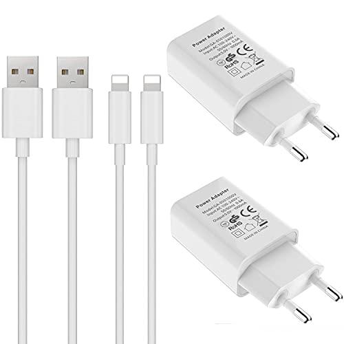 ASENTER Cargador 4-Pack 1A/5V Movil Pared Enchufe Adaptador y Dos 1M Cable Replacement para iPhone XS MAX/XR, X/10, 8/8 Plus, 7/7 Plus, 6/6S Plus, 5S/5C/SE 2020