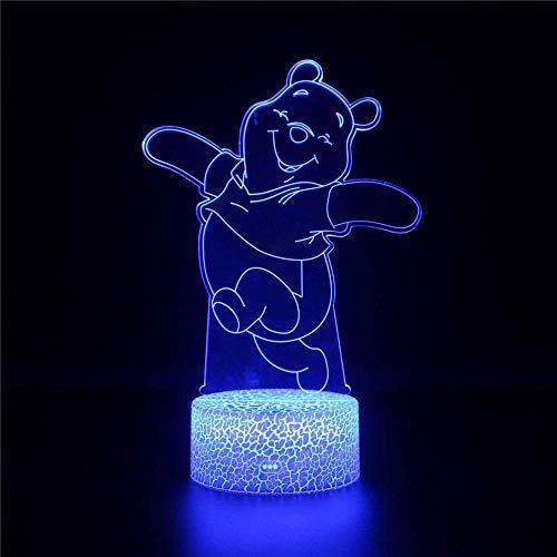 Luz de noche para niños Pooh Bear Winnie 3D luz de noche 16 cambio de color decoración lámpara para niños y habitación decoración