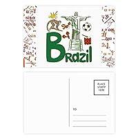 ブラジルの国家の象徴のランドマークのパターン 公式ポストカードセットサンクスカード郵送側20個