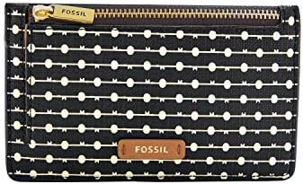 Fossil womens Card Case Black Stripe 5 43 L x 0 15 W 3 35 H US product image