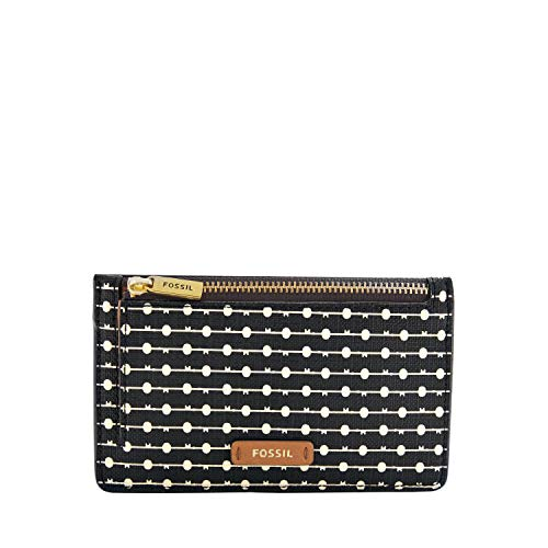 Fossil womens Card Case, Black Stripe, 5.43 L x 0.15 W 3.35 H US
