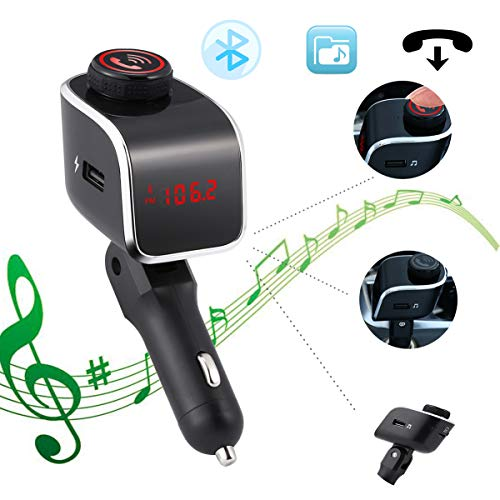 Clydekaoyan LED auto Bluetooth MP3 handsfree FM-zender muziekspeler 2,1 A oplader U disc weergave spanning auto spelen TF kaart/USB Flash Drive voor iPhone, iPad, Samsung