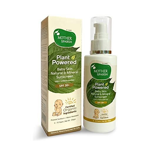 Mother Sparsh Natural Baby Sunscreen Lotion with Organic Ingredients, SPF 30+, Plant derived 95% Bio Based Ingredients - UVA/UVB Protection, 100ml